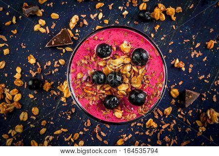 Healthy Dessert Of Yogurt, Smoothies, Granola, Chocolate