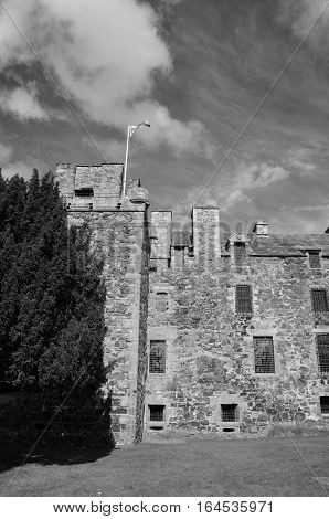 An external view of the tower building at Elcho castle