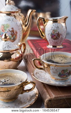 Retro Porcelain Coffee Cups With Hot Espresso And Dishware
