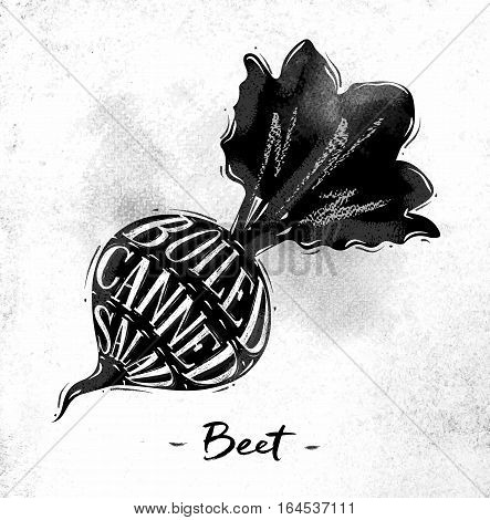 Poster beet cutting scheme lettering boiled canned salad in vintage style drawing on dirty paper background