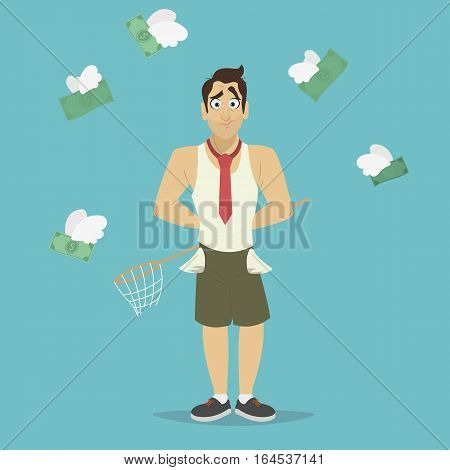 Businessman with a broken net for money that was flying like a bird. Businessman has no money vector