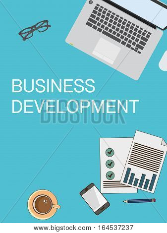 Top view of a business table poster. Laptop, papers, coffee and various business elements.