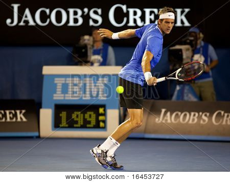 MELBOURNE - JANUARY 19: Juan Martin Del Potro of Argentina in his second round loss to Marcos Baghdatis of Cyprus in the 2011 Australian Open on January 19, 2011 in Melbourne, Australia.