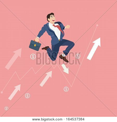 Running up to success business concept. Businessman in suit running up with arrows.