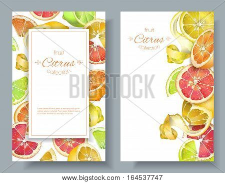 Vector vertical banners with bright colorful citrus fruits on white background. Design for sweets and pastries filled with citrus, dessert menu, health care products. With place for text