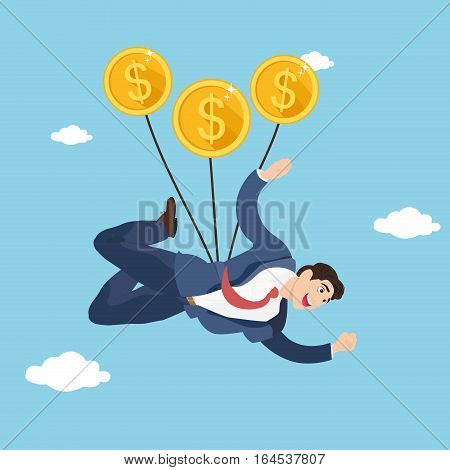 Businessman flying with coins parachute. Businessman gliding in the sky with money.