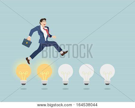 Businessman jump on light bulbs. Business concept