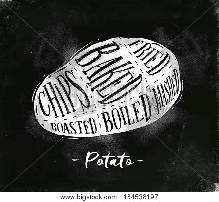 Poster potato cutting scheme lettering chips baked fried roasted boiled in vintage style drawing with chalk on chalkboard background