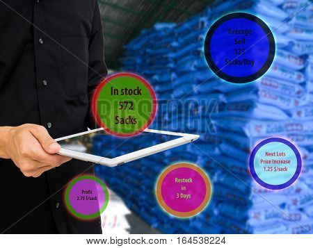 internet of things marketing concept,owner shop use augmented reality to manage the product in stock, and check average sell,profit,estimate price,when to restock