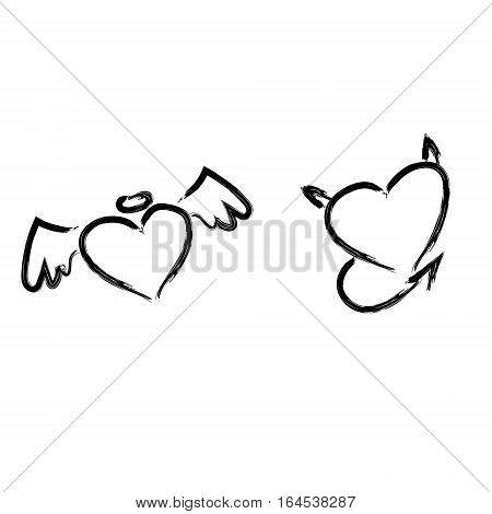 Hand drawn hearts concept. Hearts isolated. Angel Demon