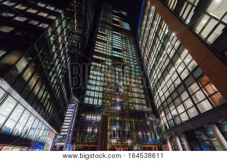 Skyscrapers in a central business district at night
