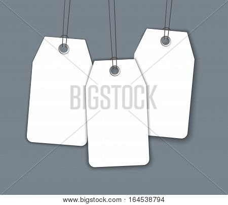 Blank price sale tag composition isolated on dark background with soft shadow
