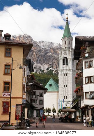 CORTINA D AMPEZZO ITALY 19th SEPTEMBER 2016 - View from Cortina d Ampezzo hotels and church Gruppo Tofana or Le Tofane Gruppe alps dolomites mountains Italy there is center of Dolomities