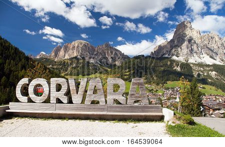 CORVARA ITALY 22 SEPTEMBER 2016 - Corvara one from the best sport centre in Dolomites mountains in the middle of Sella Grupe and Puez Gruppe italy