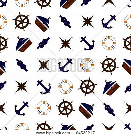 Seamless nautical pattern with ship anchor compass life ring rope ship's wheel blue brown white orange