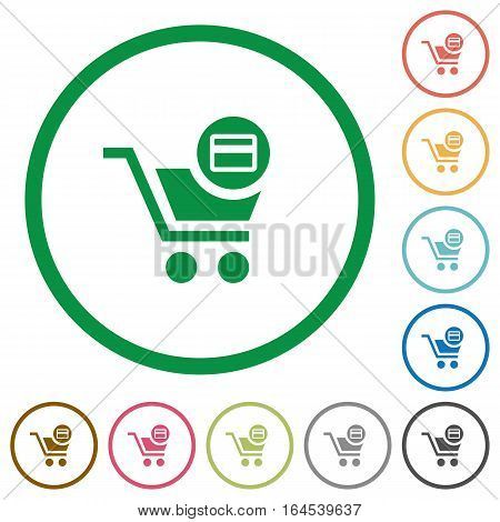 Credit card checkout flat color icons in round outlines on white background