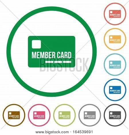 Member card flat color icons in round outlines on white background