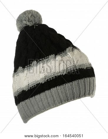 Knitted Hat Isolated On White Background .hat With Pompon .    Black White Gray  Hat