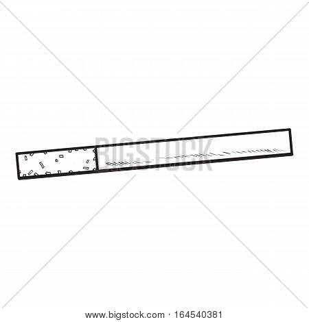 Unlit cigarette with yellow filter, side view, sketch vector illustration isolated on white background. Whole, new hand drawn cigarette, ready to smoke, tobacco product