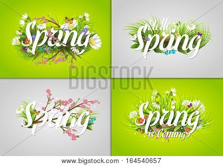 Floral spring background with white text letter. Ornament beautiful calligraphy retro poster vector illustration. Nature decoration lettering with green word and grass banner.