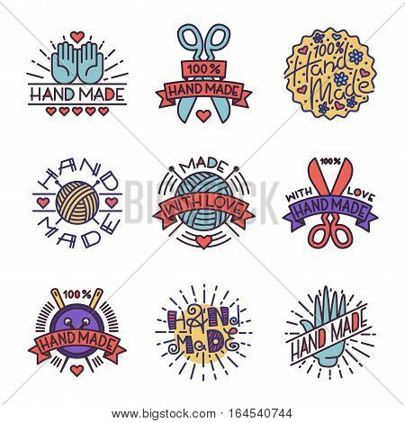 Handmade needlework badges, labels and logo elements vector