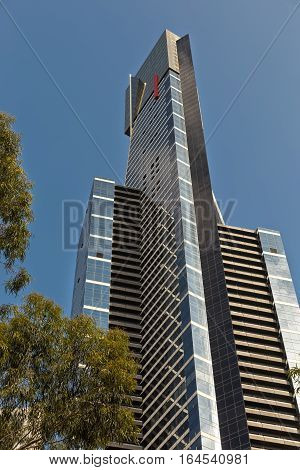 Melbourne Australia - February 2015: Eureka Tower close up view. Eureka Tower is a 297.3 meter skyscraper located in Southbank and designed by Fender Katsalidis Architects (FKA) . One of the tallest residential building in the world.
