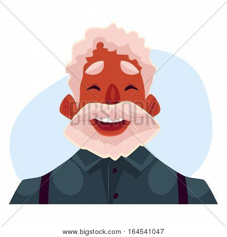 Grey haired old african man face, laughing facial expression, cartoon vector on blue background. Old black man emoji laughing out load with closed eyes open mouth. Laughing face expression