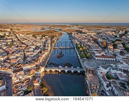 Tavira tourist town, filmed from the sky. Portugal