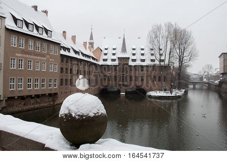 The view of a gull on the bridge with Hospice of the Holy Spirit on background. Pegnitz river canal in winter time. Nuremberg. Bavaria. Germany.