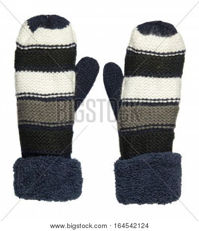 Mittens Isolated On White Background. Knitted Mittens. Mittens Top View.blue White Gray Mittens .