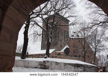 Nuremberg Germany - December 30 2014: view of the Nuremberg Castle in winter time on December 30 2014 in Nuremberg Germany.