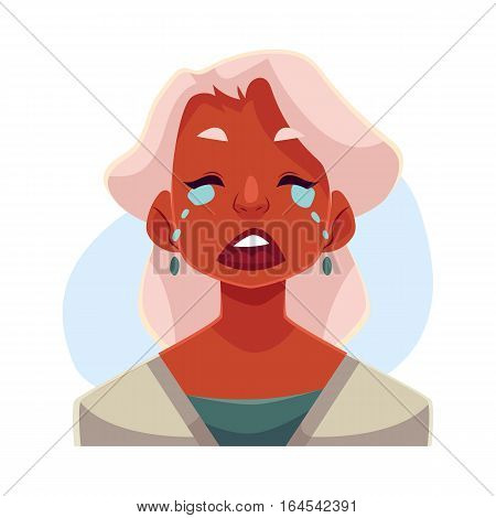 Grey haired old african lady, crying facial expression, cartoon vector illustrations isolated on blue background. Old black woman crying, shedding tears, sad, heart broken, in grief.
