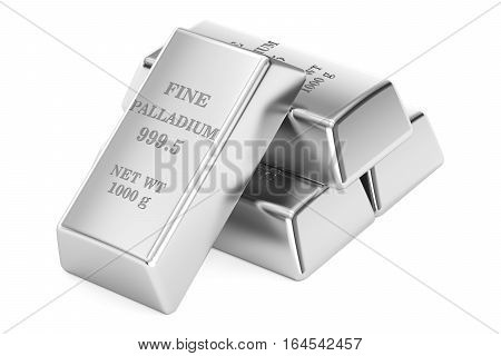 Set of palladium ingots 3D rendering isolated on white background