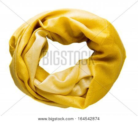 Scarf Isolated On White Background.scarf  Top View .yellow Scarf .