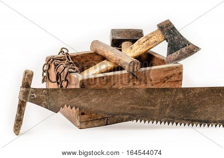 Old wooden toolbox with hand saw on white background