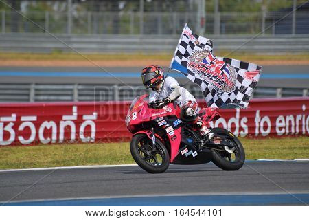 BURIRAM - DECEMBER 4 : Pawit Kumdangsod was championship of CBR300R Thailand Dream Cup in Asia Road Racing Championship 2016 Round 6 at Chang International Racing Circuit on December 4 2016 Buriram Thailand.