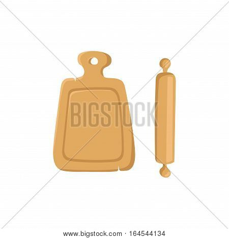 Cutting cooking board with rolling pin natural wooden kitchen tools design top view vector illustration. Household food preparation utensils.