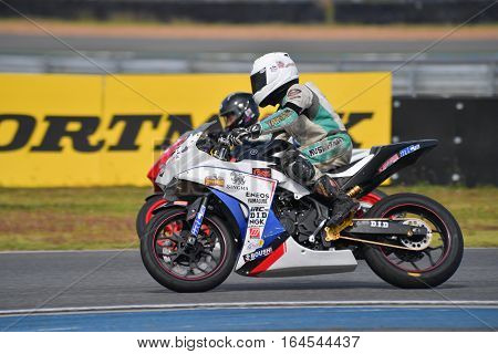 BURIRAM - DECEMBER 4 : Wisuwat Sukkasem #2 in Yamaha R3 Thailand Challenge Cup in Asia Road Racing Championship 2016 at Chang International Racing Circuit on December 4 2016 Buriram Thailand.