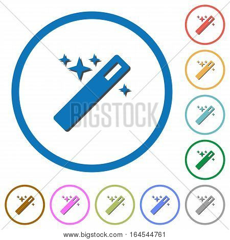 Magic wand flat color vector icons with shadows in round outlines on white background