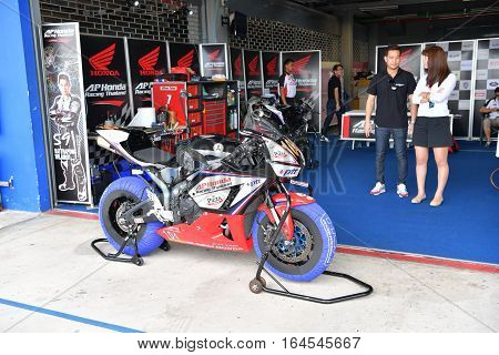 BURIRAM - DECEMBER 4 : Honda Motorcycle of AP Honda Racing Thailand in Asia Road Racing Championship 2016 at Chang International Racing Circuit on December 4 2016 Buriram Thailand.