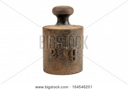 Old and rusty weight on white background
