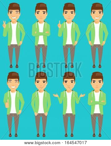 Young man, the expression of emotions. Angry, winking, happy, puzzled, unhappy. Lifestyle.