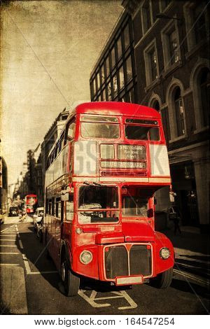 vintage style picture of a classic Routemaster bus in London UK