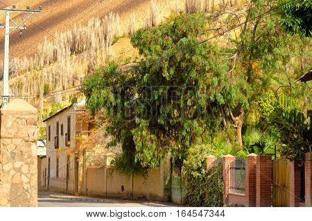 Town of Pisco Elqui in the Elqui Valley in Chile