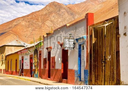 PISCO ELQUI CHILE - JUNE 20: View of town called Pisco Elqui Chile in the Elqui Valley on June 20 2014
