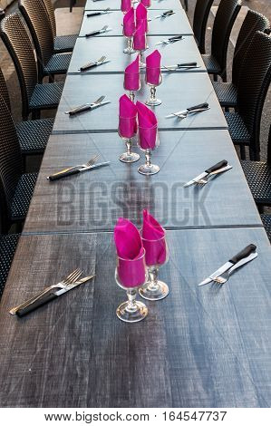 Laid Tables At An Outdoor Event
