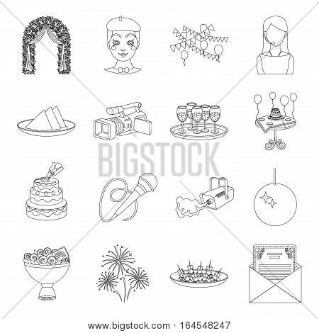 Event service set icons in outline design. Big collection of event service vector symbol stock illustration
