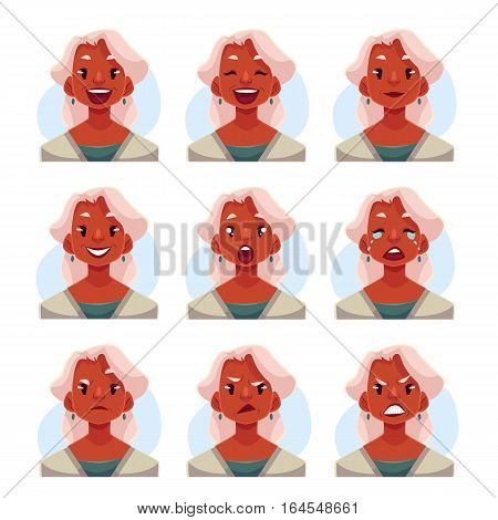 Grey haired old african lady face expression, set of cartoon vector illustrations isolated on blue background. Old black woman, grandmother emoji face icons, set of female avatars with emotions