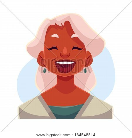 Grey haired old african lady, laughing facial expression, cartoon vector illustrations isolated on blue background. Old black woman laughing out load with closed eyes and open mouth. Laughing
