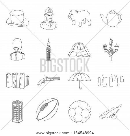 England country set icons in outline design. Big collection of England country vector symbol stock illustration